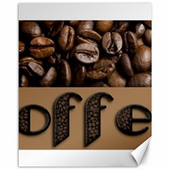 Funny Coffee Beans Brown Typography Canvas 11  x 14