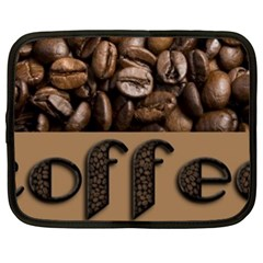 Funny Coffee Beans Brown Typography Netbook Case (Large)