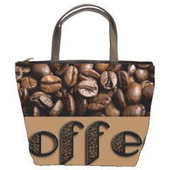 Funny Coffee Beans Brown Typography Bucket Bags