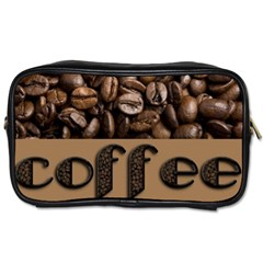 Funny Coffee Beans Brown Typography Toiletries Bags