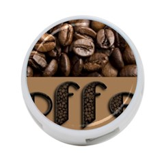 Funny Coffee Beans Brown Typography 4-Port USB Hub (One Side)