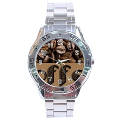 Funny Coffee Beans Brown Typography Stainless Steel Analogue Watch