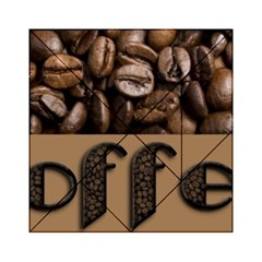 Funny Coffee Beans Brown Typography Acrylic Tangram Puzzle (6  x 6 )