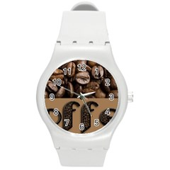 Funny Coffee Beans Brown Typography Round Plastic Sport Watch (M)