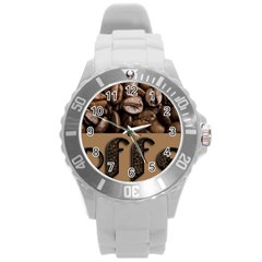 Funny Coffee Beans Brown Typography Round Plastic Sport Watch (L)