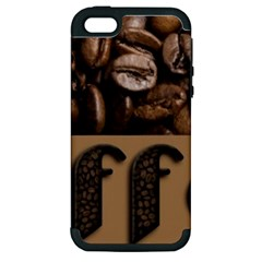 Funny Coffee Beans Brown Typography Apple iPhone 5 Hardshell Case (PC+Silicone)