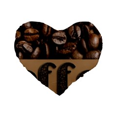 Funny Coffee Beans Brown Typography Standard 16  Premium Heart Shape Cushions