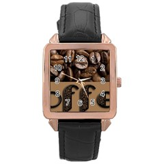 Funny Coffee Beans Brown Typography Rose Gold Leather Watch