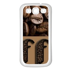 Funny Coffee Beans Brown Typography Samsung Galaxy S3 Back Case (White)