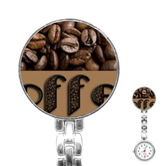 Funny Coffee Beans Brown Typography Stainless Steel Nurses Watch