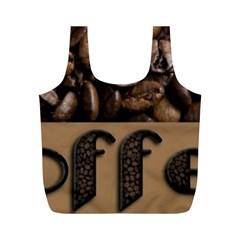 Funny Coffee Beans Brown Typography Full Print Recycle Bags (M)