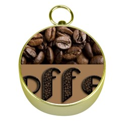 Funny Coffee Beans Brown Typography Gold Compasses