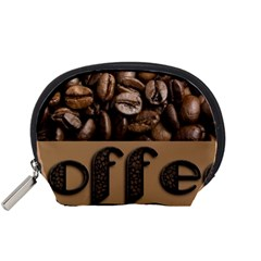 Funny Coffee Beans Brown Typography Accessory Pouches (Small)