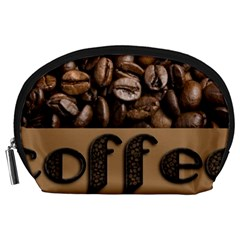 Funny Coffee Beans Brown Typography Accessory Pouches (Large)