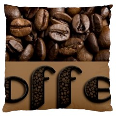 Funny Coffee Beans Brown Typography Large Flano Cushion Case (One Side)
