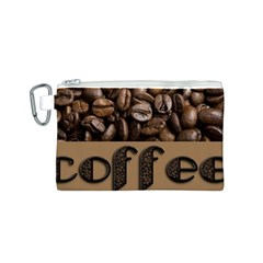 Funny Coffee Beans Brown Typography Canvas Cosmetic Bag (S)
