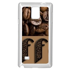 Funny Coffee Beans Brown Typography Samsung Galaxy Note 4 Case (White)