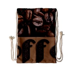 Funny Coffee Beans Brown Typography Drawstring Bag (Small)