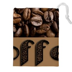 Funny Coffee Beans Brown Typography Drawstring Pouches (XXL)