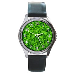 Shamrock Clovers Green Irish St  Patrick Ireland Good Luck Symbol 8000 Sv Round Metal Watch