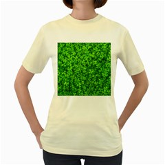 Shamrock Clovers Green Irish St  Patrick Ireland Good Luck Symbol 8000 Sv Women s Yellow T Shirt