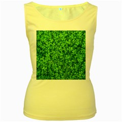 Shamrock Clovers Green Irish St  Patrick Ireland Good Luck Symbol 8000 Sv Women s Yellow Tank Top