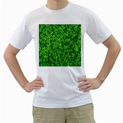 Shamrock Clovers Green Irish St  Patrick Ireland Good Luck Symbol 8000 Sv Men s T Shirt (white) (two Sided)