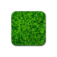 Shamrock Clovers Green Irish St  Patrick Ireland Good Luck Symbol 8000 Sv Rubber Coaster (Square)
