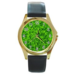 Shamrock Clovers Green Irish St  Patrick Ireland Good Luck Symbol 8000 Sv Round Gold Metal Watch