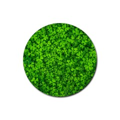 Shamrock Clovers Green Irish St  Patrick Ireland Good Luck Symbol 8000 Sv Rubber Coaster (Round)