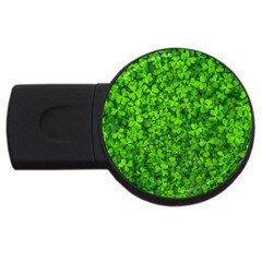 Shamrock Clovers Green Irish St  Patrick Ireland Good Luck Symbol 8000 Sv USB Flash Drive Round (2 GB)