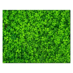 Shamrock Clovers Green Irish St  Patrick Ireland Good Luck Symbol 8000 Sv Rectangular Jigsaw Puzzl