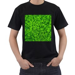 Shamrock Clovers Green Irish St  Patrick Ireland Good Luck Symbol 8000 Sv Men s T Shirt (black) (two Sided)
