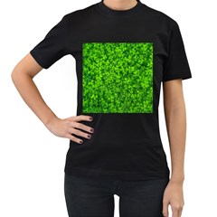Shamrock Clovers Green Irish St  Patrick Ireland Good Luck Symbol 8000 Sv Women s T Shirt (black) (two Sided)