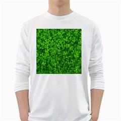 Shamrock Clovers Green Irish St  Patrick Ireland Good Luck Symbol 8000 Sv White Long Sleeve T Shirts