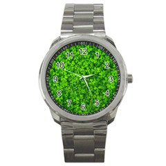 Shamrock Clovers Green Irish St  Patrick Ireland Good Luck Symbol 8000 Sv Sport Metal Watch