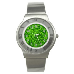 Shamrock Clovers Green Irish St  Patrick Ireland Good Luck Symbol 8000 Sv Stainless Steel Watch