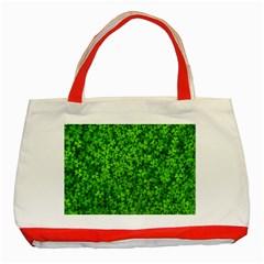 Shamrock Clovers Green Irish St  Patrick Ireland Good Luck Symbol 8000 Sv Classic Tote Bag (red)