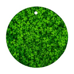 Shamrock Clovers Green Irish St  Patrick Ireland Good Luck Symbol 8000 Sv Round Ornament (Two Sides)