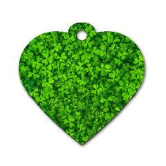 Shamrock Clovers Green Irish St  Patrick Ireland Good Luck Symbol 8000 Sv Dog Tag Heart (one Side)
