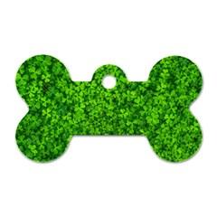 Shamrock Clovers Green Irish St  Patrick Ireland Good Luck Symbol 8000 Sv Dog Tag Bone (one Side)