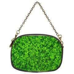 Shamrock Clovers Green Irish St  Patrick Ireland Good Luck Symbol 8000 Sv Chain Purses (One Side)