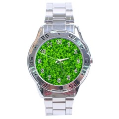 Shamrock Clovers Green Irish St  Patrick Ireland Good Luck Symbol 8000 Sv Stainless Steel Analogue Watch