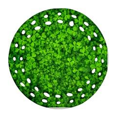 Shamrock Clovers Green Irish St  Patrick Ireland Good Luck Symbol 8000 Sv Round Filigree Ornament (2side)