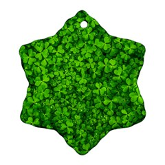 Shamrock Clovers Green Irish St  Patrick Ireland Good Luck Symbol 8000 Sv Snowflake Ornament (2 Side)