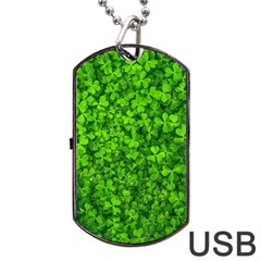 Shamrock Clovers Green Irish St  Patrick Ireland Good Luck Symbol 8000 Sv Dog Tag Usb Flash (one Side)