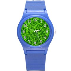 Shamrock Clovers Green Irish St  Patrick Ireland Good Luck Symbol 8000 Sv Round Plastic Sport Watch (s)