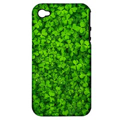 Shamrock Clovers Green Irish St  Patrick Ireland Good Luck Symbol 8000 Sv Apple Iphone 4/4s Hardshell Case (pc+silicone)