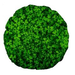 Shamrock Clovers Green Irish St  Patrick Ireland Good Luck Symbol 8000 Sv Large 18  Premium Round Cushions