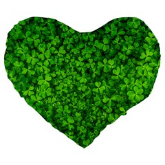Shamrock Clovers Green Irish St  Patrick Ireland Good Luck Symbol 8000 Sv Large 19  Premium Heart Shape Cushions